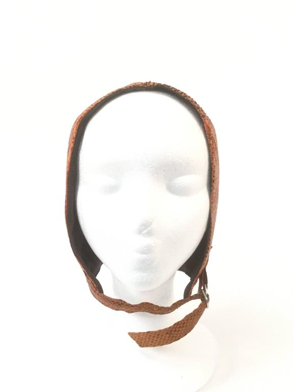 Women's Burnt Chestnut Snake Skin Hat / Cap / Helmet,  1970s  For Sale