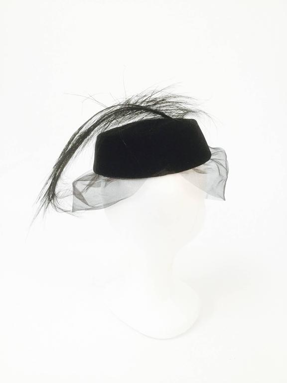 Gray 1950s Miss Sally Victor Velvet Rhinestone Feather Pillbox Hat For Sale