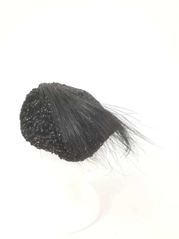 Vintage Milgrim Sequin and Beaded Ostrich Feather Hat In Good Condition For Sale In Houston, TX