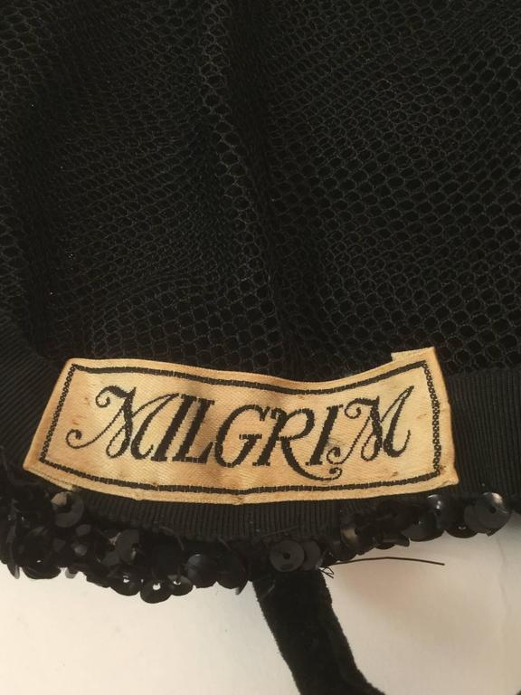 Women's Vintage Milgrim Sequin and Beaded Ostrich Feather Hat For Sale