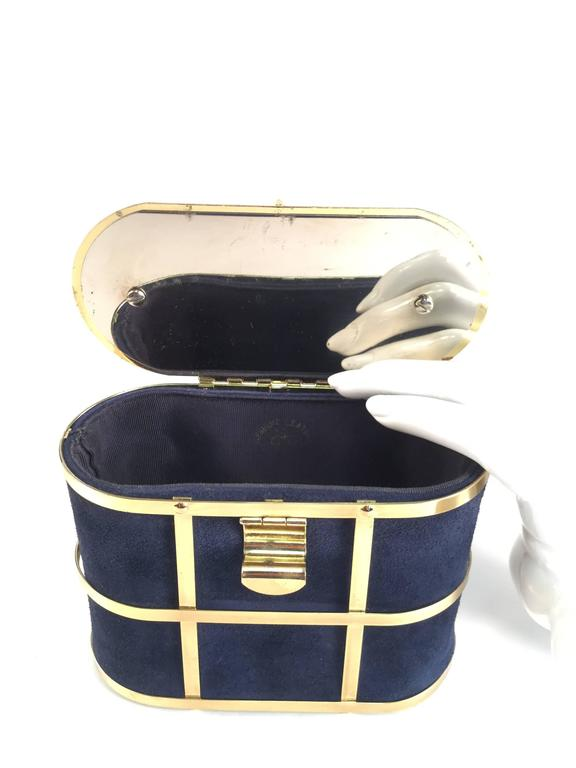 1960s Handbag Navy Blue Suede And Gold Cage Box Purse For