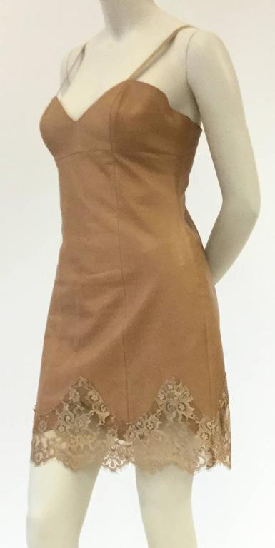 1980s Michael Hoban North Beach Caramel Slip Dress in Leather and Lace 2
