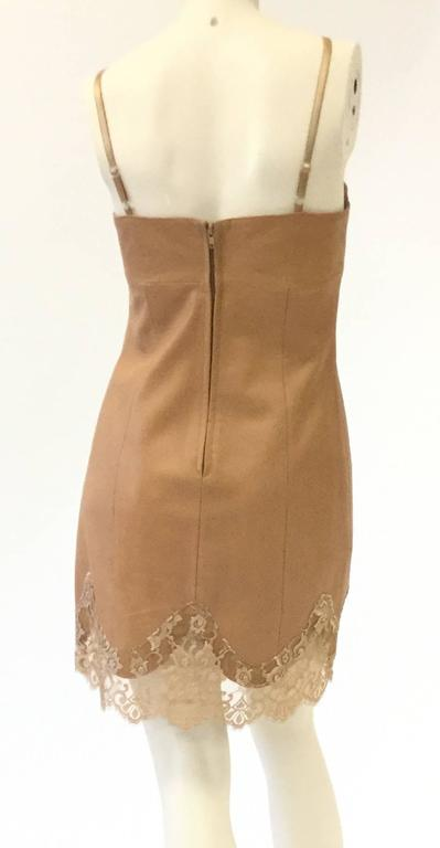 1980s Michael Hoban North Beach Caramel Slip Dress in Leather and Lace 3