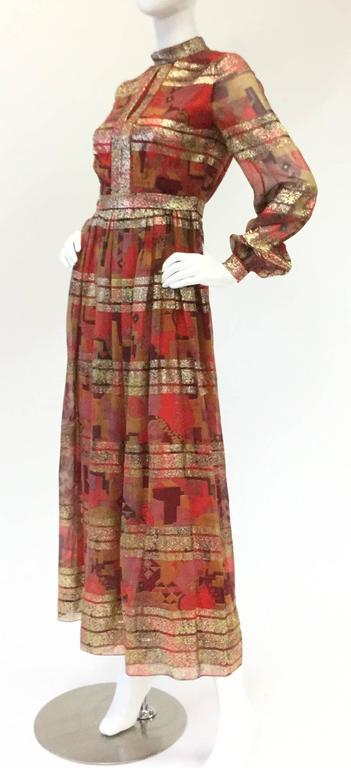 Brown Elinor Simmons for Malcolm Starr Evening Gown, 1970s  For Sale