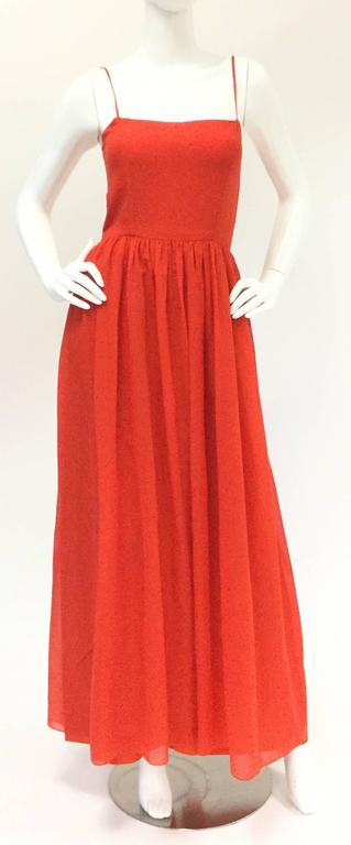 1970s Lanvin Red Silk Dress In Excellent Condition For Sale In Houston, TX