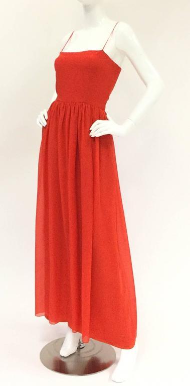1970s Lanvin Red Silk Dress 4