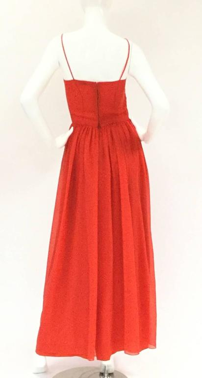 1970s Lanvin Red Silk Dress For Sale 1