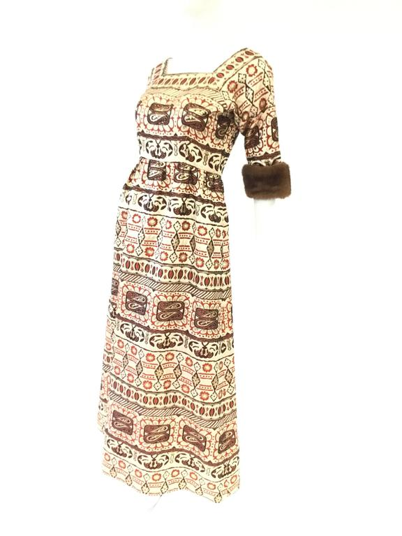 Oscar de la Renta Gold Brocade Evening Dress with Mink Cuff, 1970s  In Good Condition For Sale In Houston, TX