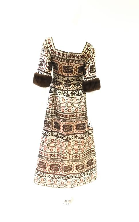 Women's Oscar de la Renta Gold Brocade Evening Dress with Mink Cuff, 1970s  For Sale