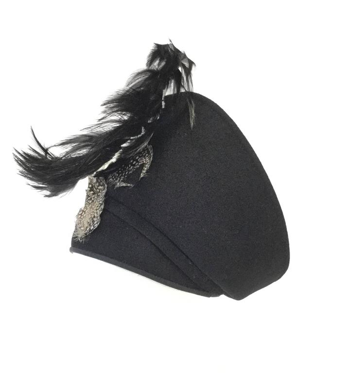 Black 1960s Jack McConnell Sculptural Guinea Fowl Feather Hat For Sale
