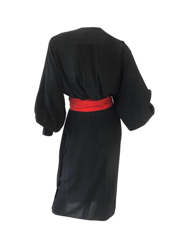 1970s Adele Simpson Black and Red Wrap Dress  In Excellent Condition For Sale In Houston, TX
