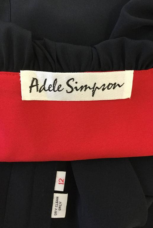 1970s Adele Simpson Black and Red Wrap Dress  For Sale 1