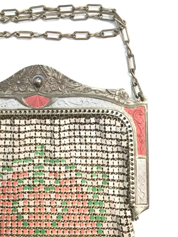 Beige 1920s Whiting and Davis Floral Enamel Mesh Purse For Sale