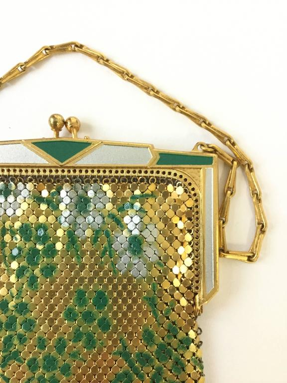 Brown 1920s Whiting and Davis Floral Enamel Gold Art Deco Mesh Purse