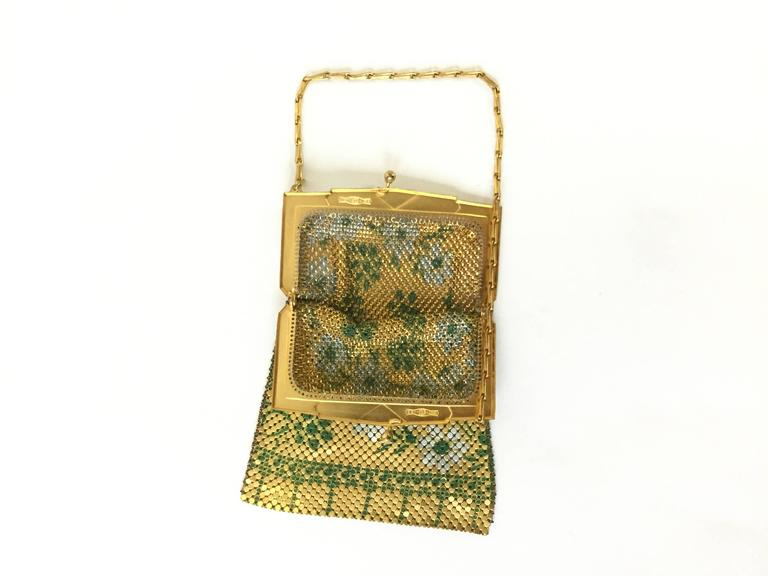 1920s Whiting and Davis Floral Enamel Gold Art Deco Mesh Purse In Excellent Condition In Houston, TX