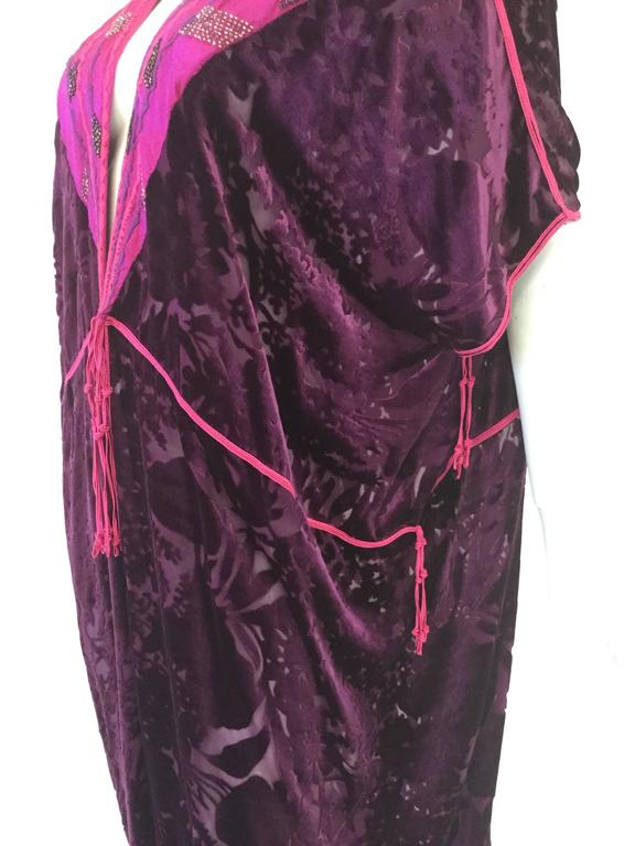 Vintage Thea Porter Couture Purple Silk Burnout Hostess Gown  3