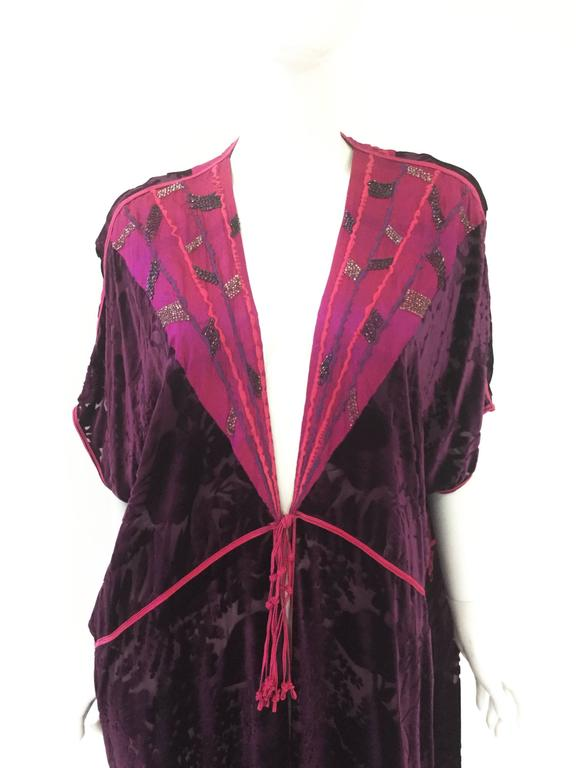 Vintage Thea Porter Couture Purple Silk Burnout Hostess Gown  2