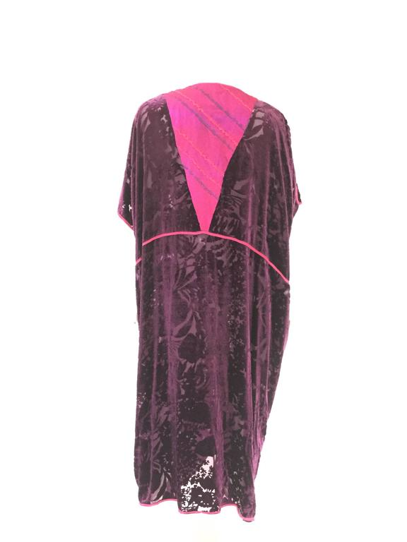 Vintage Thea Porter Couture Purple Silk Burnout Hostess Gown  4