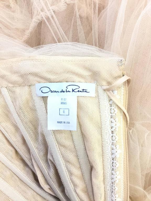 2007 Oscar de la Renta Nude Angular Tiered Tulle Ball Gown 5