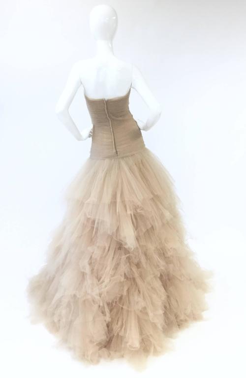 2007 Oscar de la Renta Nude Angular Tiered Tulle Ball Gown 4