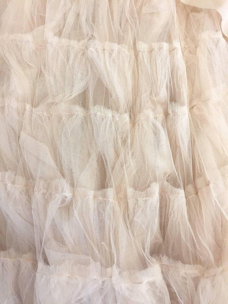 2007 Oscar de la Renta Nude Angular Tiered Tulle Ball Gown 7