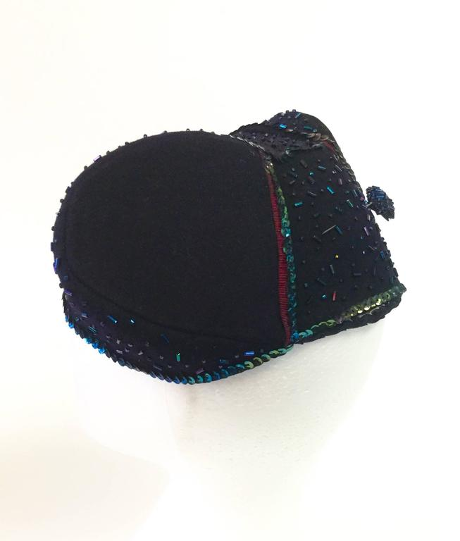 Gray 1940s Pierre - Renand Navy Iridescent Sequined and Beaded Evening Hat For Sale
