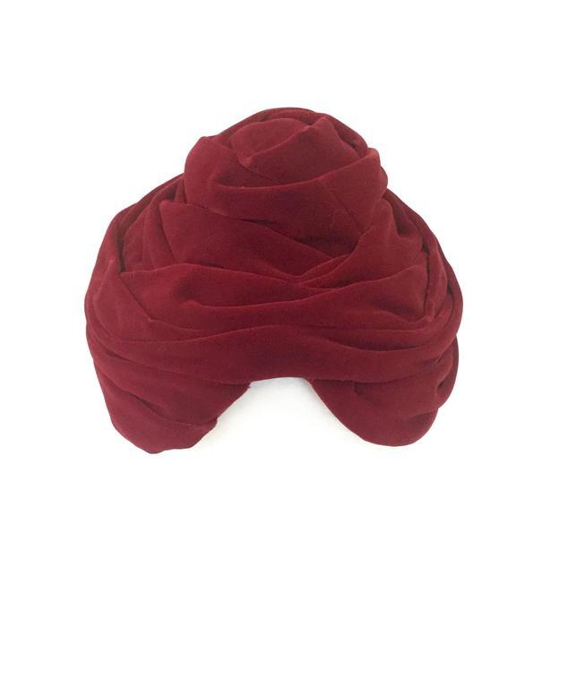 Women's 1940s Miss Sally Victor Red Velvet Rose Toque Evening Hat For Sale