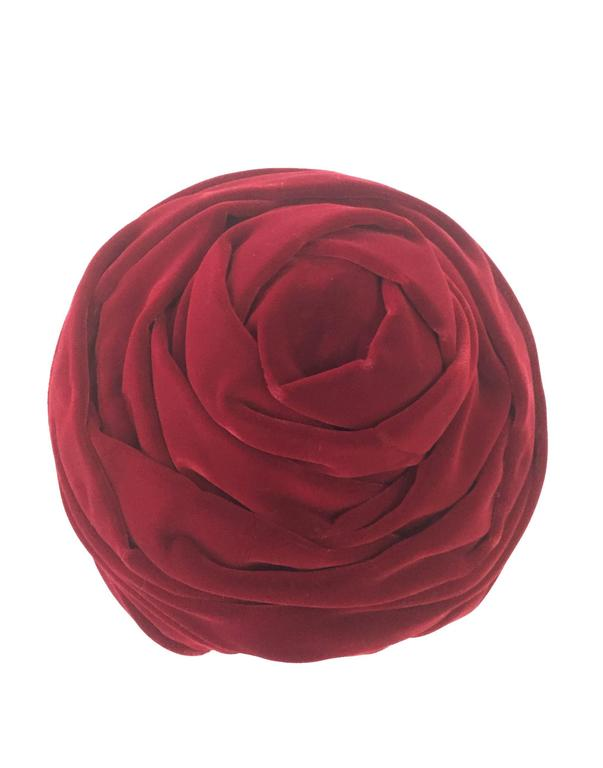 1940s Miss Sally Victor Red Velvet Rose Toque Evening Hat For Sale 1