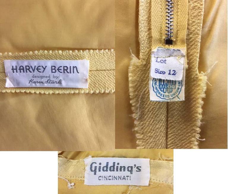 1960s Harvey Berin Sunshine Yellow Beaded Shift For Sale 1