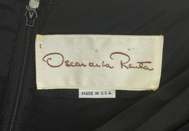 Women's 1990s Oscar De La Renta Black Ruffle Dress For Sale