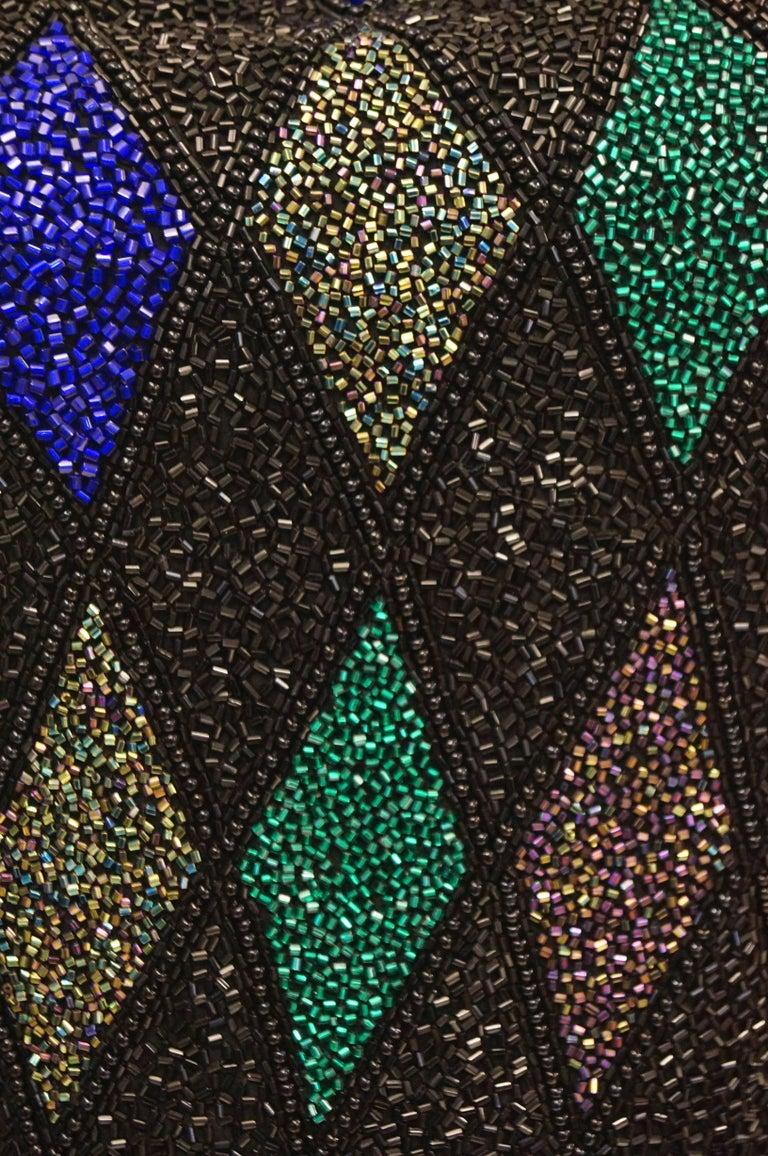 Bob Mackie Beaded Black Blue and Green Diamond Cocktail Dress Size 6, 1990s 3