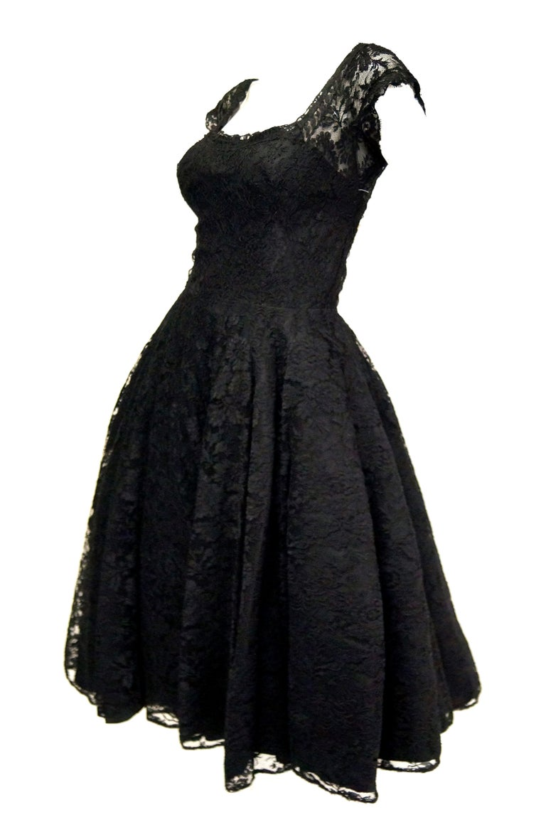 Women's 1950s Black Floral French Lace Scoop Back Cocktail Dress For Sale