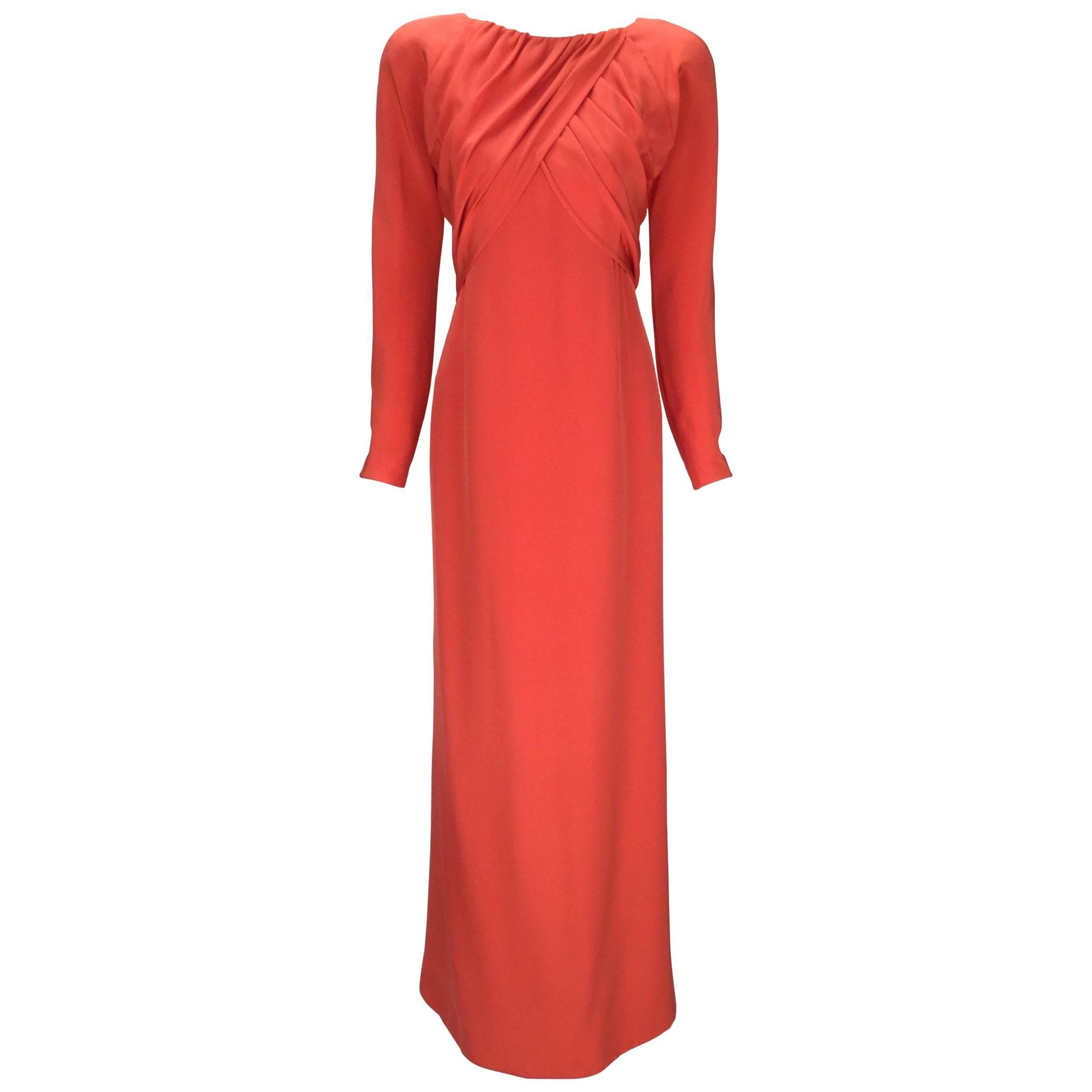 Halston Red Silk Long Sleeve Evening Dress, 1970s
