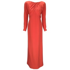 Halston Red Silk Long Sleeve Evening Dress, 1970s