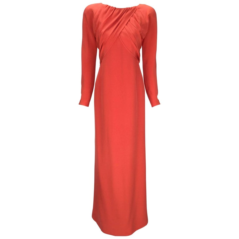 1970s Halston Red Silk Long Sleeve Evening Dress