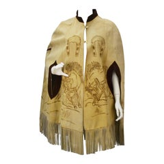 Hand Drawn Suede Mexican Poncho, 1970s
