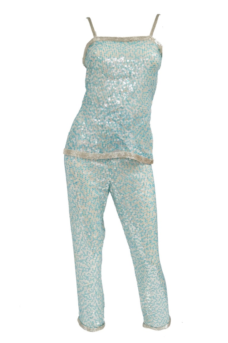 Women's 1980s Naeem Khan Silk Aqua Sequin & Beading Evening Ensemble W/ Tassel Jacket 6 For Sale
