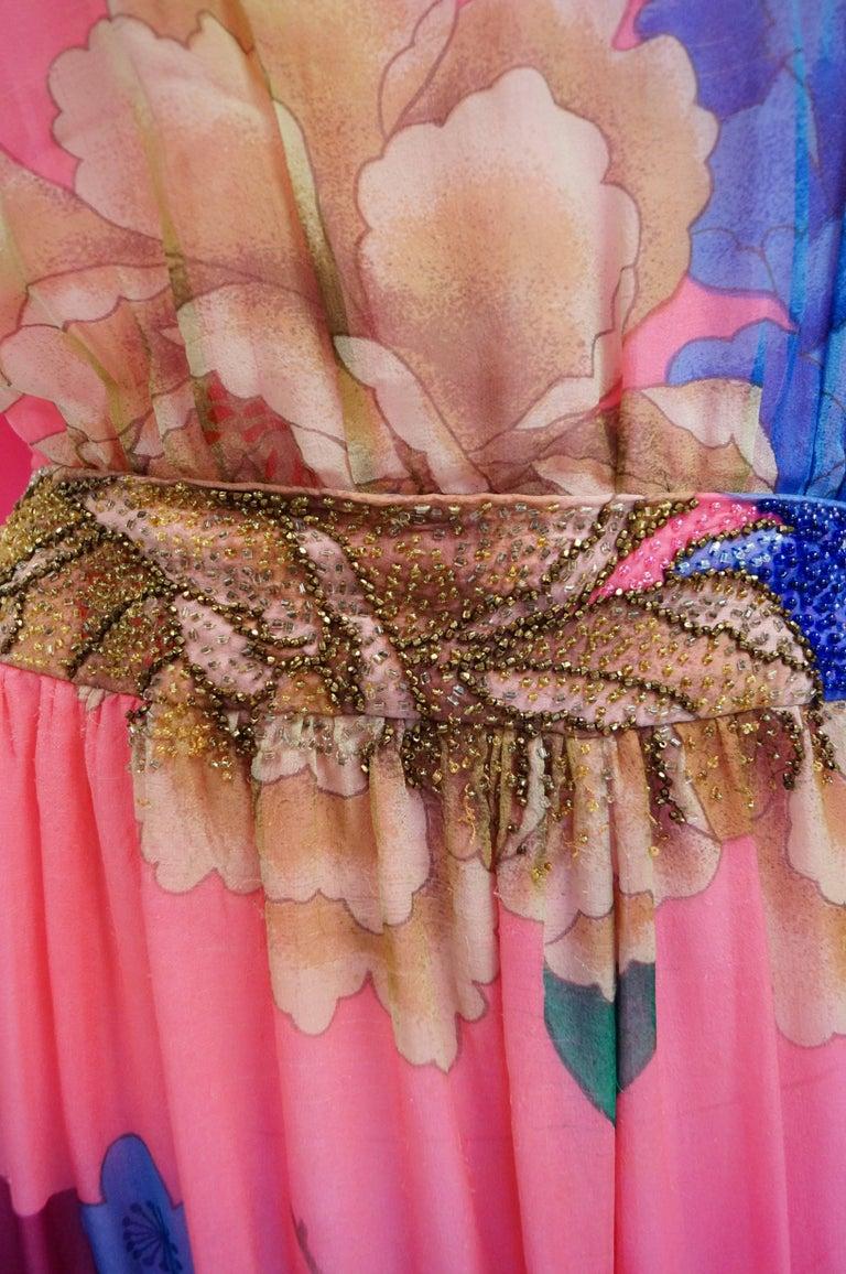 Pink Hanae Mori Silk Floral Jumpsuit, 1970s  For Sale