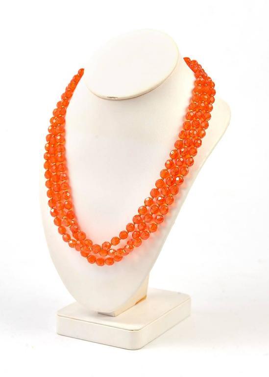 1960s Hattie Carnegie Tangerine Glass Bead Necklace and Earrings 4