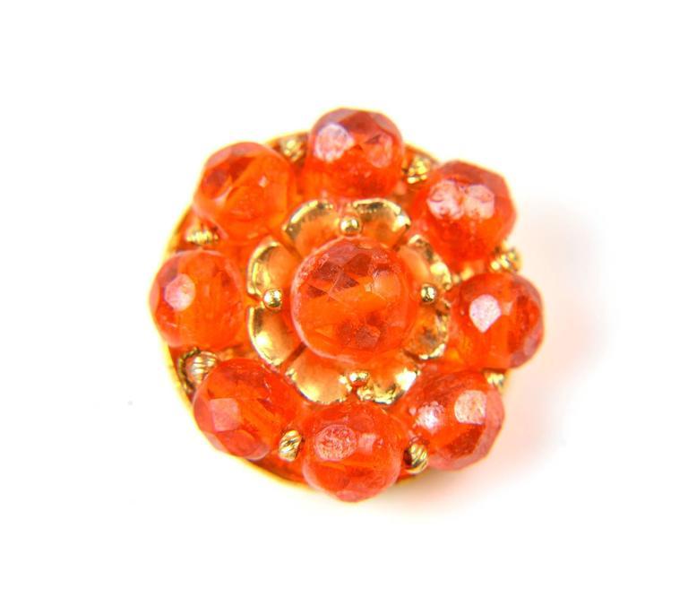 1960s Hattie Carnegie Tangerine Glass Bead Necklace and Earrings 5