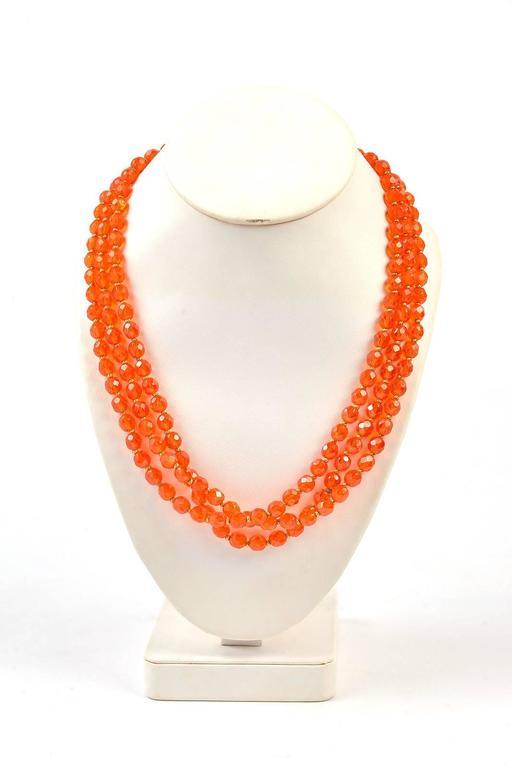1960s Hattie Carnegie Tangerine Glass Bead Necklace and Earrings 6