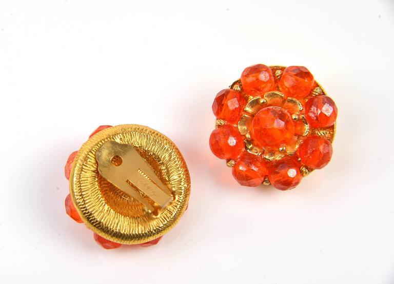 1960s Hattie Carnegie Tangerine Glass Bead Necklace and Earrings 8
