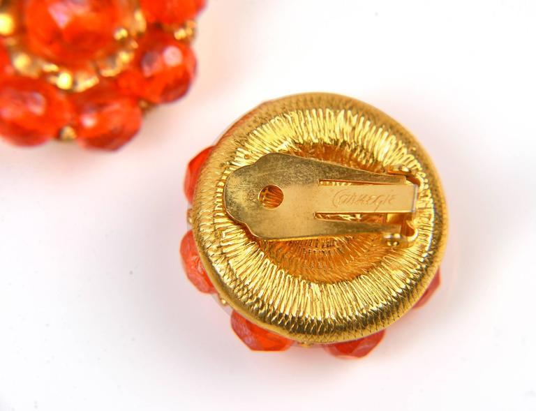 1960s Hattie Carnegie Tangerine Glass Bead Necklace and Earrings 9