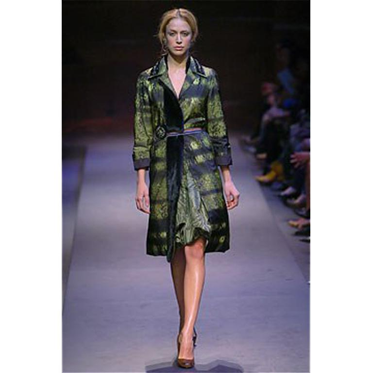 Amazing green tiger stripe print coat with espresso mink detail including collar! This 2004 runway piece is knee length, with long sleeves, and a small notched collar. The collar has black bead and rhinestone details, and is not - so - subtly lined