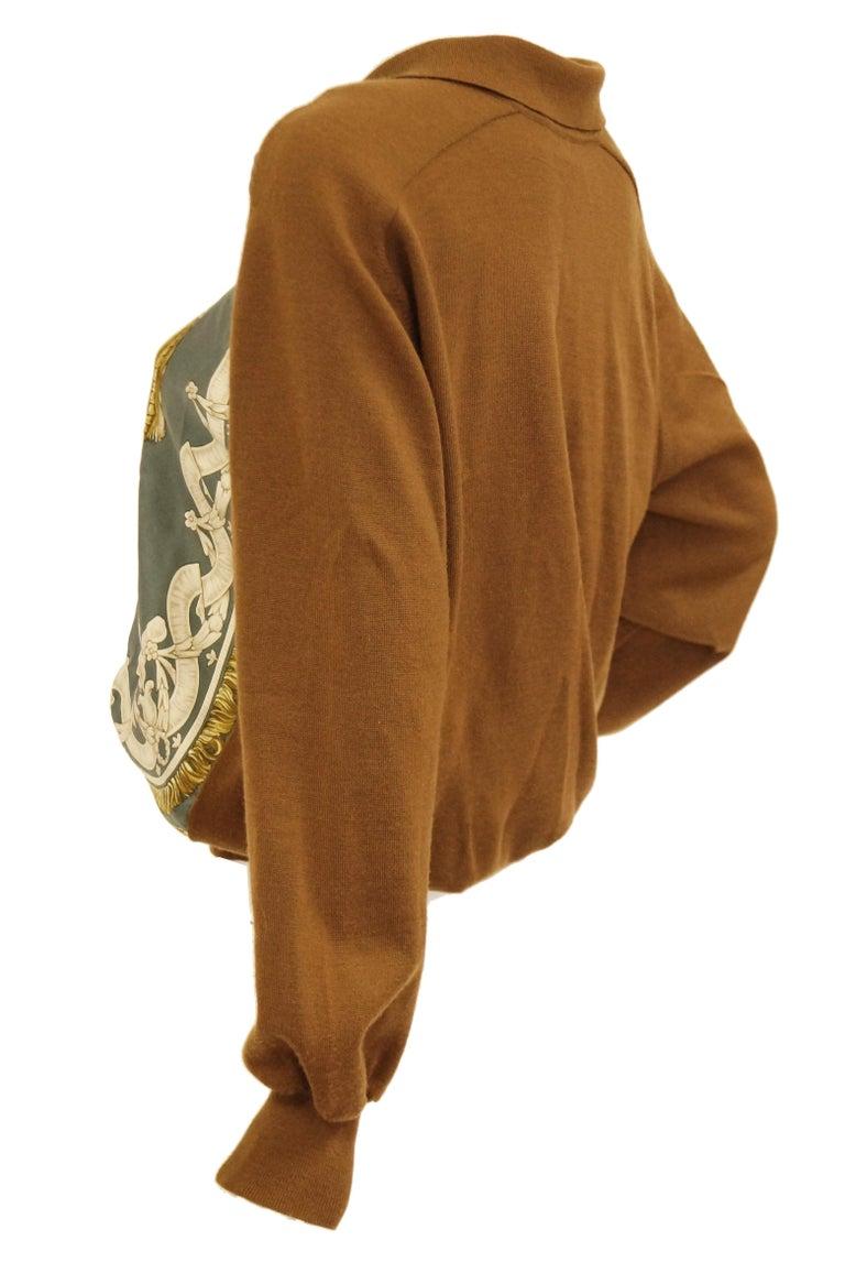 "1987 Hermes ""Bride De Cour""  Tassel Silk Scarf Cashmere Sweater  For Sale 2"