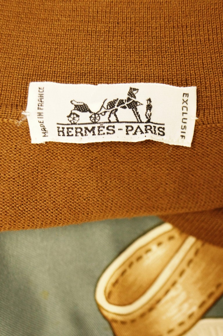 "1987 Hermes ""Bride De Cour""  Tassel Silk Scarf Cashmere Sweater  For Sale 6"