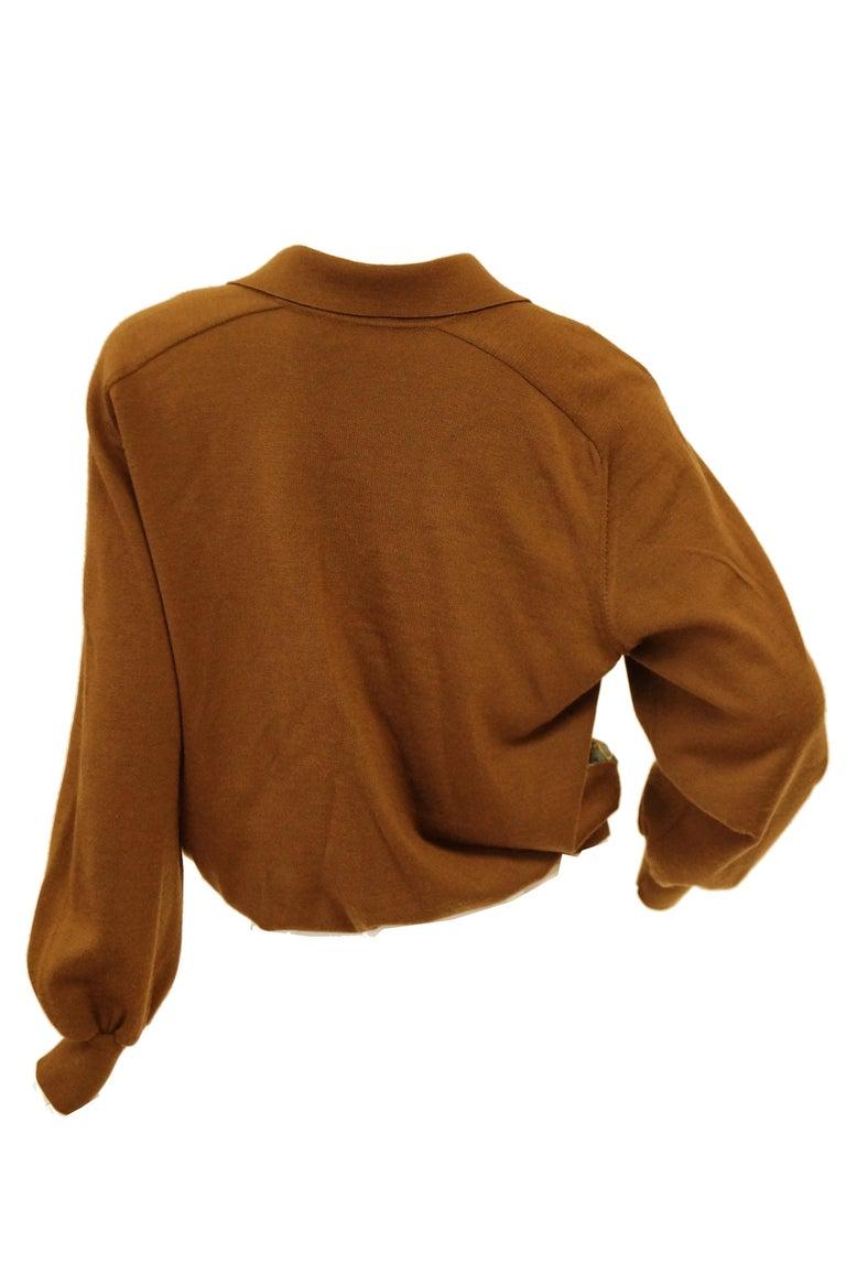 "1987 Hermes ""Bride De Cour""  Tassel Silk Scarf Cashmere Sweater  For Sale 3"