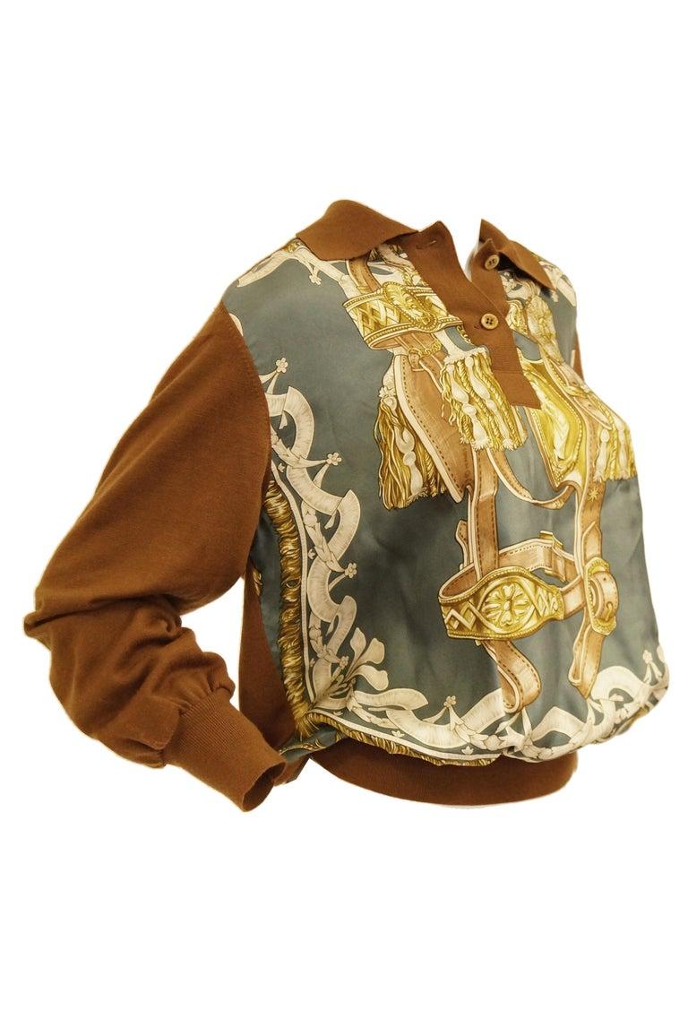 "1987 Hermes ""Bride De Cour""  Tassel Silk Scarf Cashmere Sweater  For Sale 5"