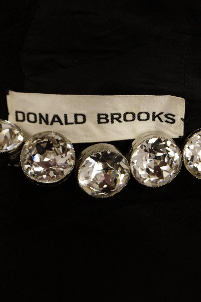 1960s Donald Brooks Black Cocktail Dress with Riviera Rhinestone Neckline For Sale 5