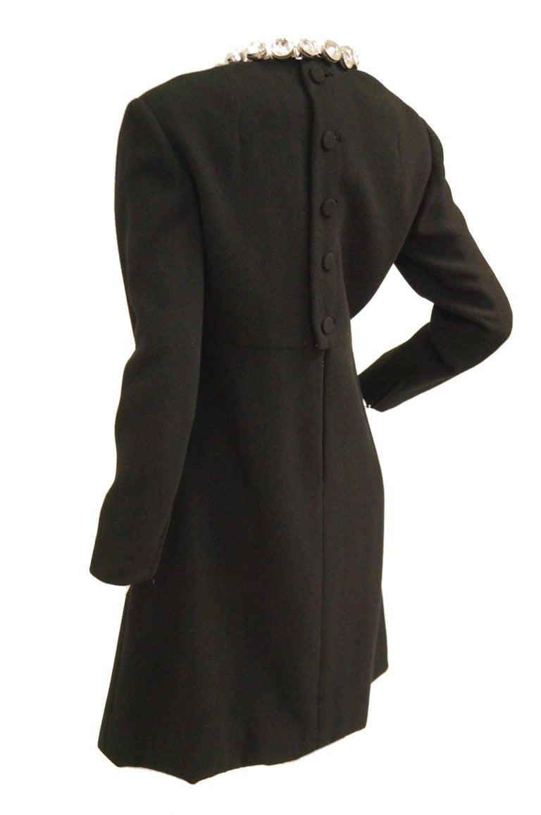 Women's 1960s Donald Brooks Black Cocktail Dress with Riviera Rhinestone Neckline For Sale